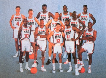 Probably the greatest basketball team that ever competed. Front row (L to R): Clyde Drexler, Scottie Pippen, John Stockton, Karl Malone, Charles Barkley; Second row (L to R): Larry Bird, Chris Mullin, Michael Jordan; Third row (L to R): Christian Laettner (ugh, I can't believe I am actually inserting a picture including him into a post on my blog...after what he did to my beloved Kentucky Wildcats on that fateful night in 1992), Patrick Ewing, Magic Johnson, David Robinson. Photo credit: hypervocal.com