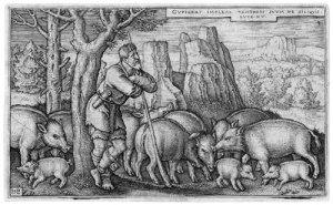 Engraving of the Prodigal Son as a swineherd by Hans Sebald Beham, 1538 - photo credit: wikipedia