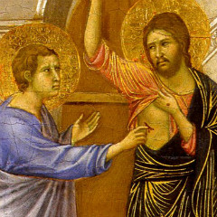 Jesus offers his scarred body to Thomas (credit: Joel J. Miller's blog on patheos.com)