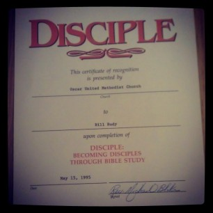 A certificate of completion for the Disciple Bible Study given to my grandfather in 1995. Papaw died 3 years later.